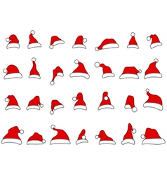 Santa hats doodles vector