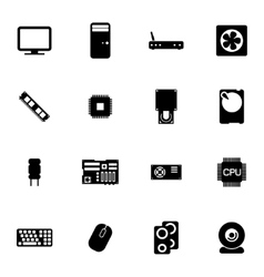 Black pc components icons set vector