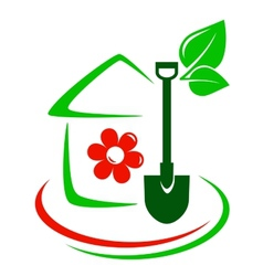 Green garden icon with house flower and shovel vector