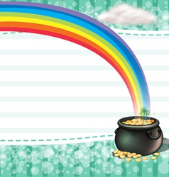 A pot full of coins with a clover plant vector