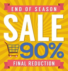 90 percent end of season sale vector