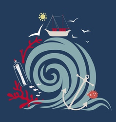 Storm wave and fishing vessel vector