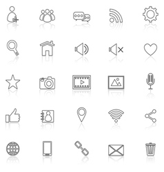 Chat line icons with reflect on white vector
