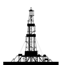 Oil rig silhouette isolated on white background vector