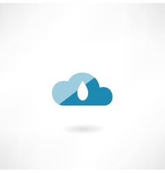 Cloud icon with a drop vector