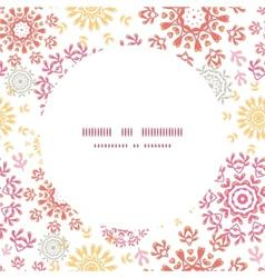 Folk floral circles abstract frame seamless vector