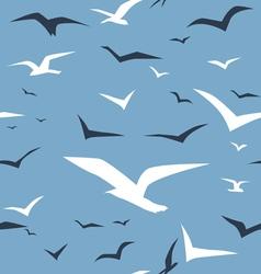 Seagulls and blue ocean seamless pattern vector