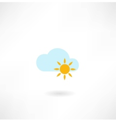 Sun with a cloud icon vector