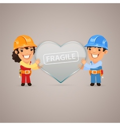 Valentines day poster with couple workers vector