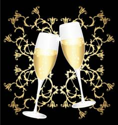 Golden flower cups of champagne vector