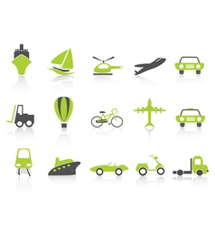 Transportation icons nature green series vector