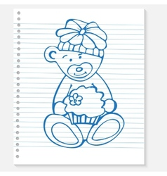 Sketch bear with cake on a notebook vector