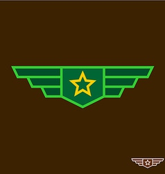 Military badge with wings chinese army sign vector