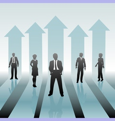 Business people team on move up arrows vector