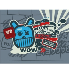 Graffiti blue character vector