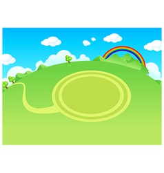 Green landscape and circle path vector