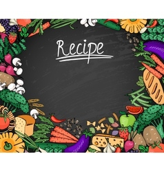 Food recipe background on black chalkboard vector