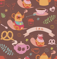 Tea and cute snails seamless pattern vector