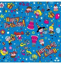 Happy birthday kids party pattern 2 vector