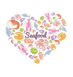 Love seafood concept vector