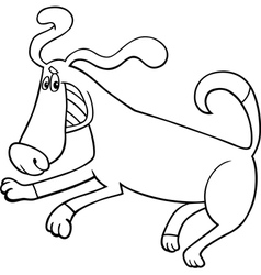 Playful dog cartoon for coloring book vector