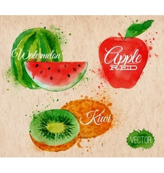 Fruit watercolor watermelon kiwi apple red in vector