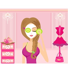 Cute girl applying moisturizer in elegant dressing vector