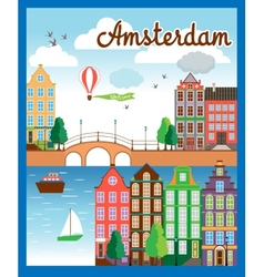 Nice amsterdam city background vector