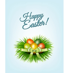 Happy easter background colorful easter eggs on vector