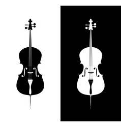 Cello in black and blue colors vector