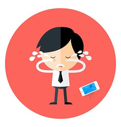 Crying businessman with broken phone circle icon vector