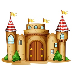 A castle with four banners vector