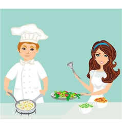 Pair of chefs prepares delicious dishes vector