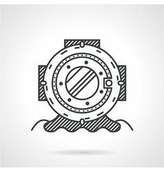 Diving helmet black line icon vector