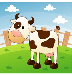 Cow in farm vector