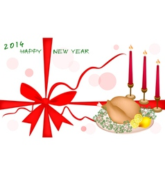 New year gift card or new year dinner voucher vector