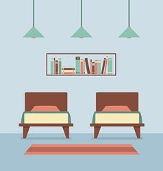 Flat design twin beds interior vector