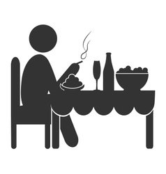 Flat dinner icon with cigarette isolated on white vector