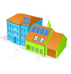 Blue and green buildings vector