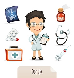 Medical set with a female doctor vector