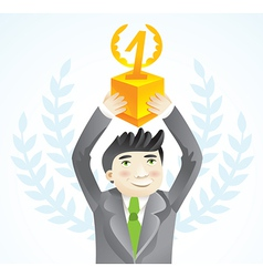 Businesman holding cup - leadership concept - vector