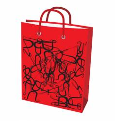 Red paper bag for shopping vector