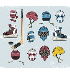 Hockey equipment color vector