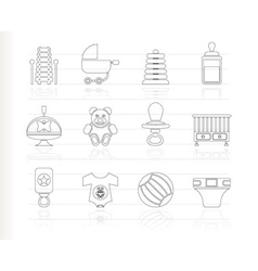 Baby sketch icons vector