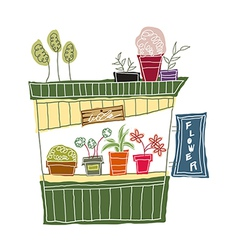 A view of flower shop vector