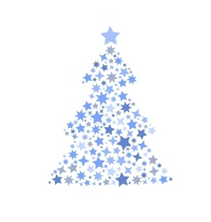 Symbol silhouette of christmas tree stars vector