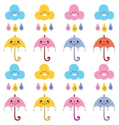 Cute umbrellas raindrops clouds characters pattern vector
