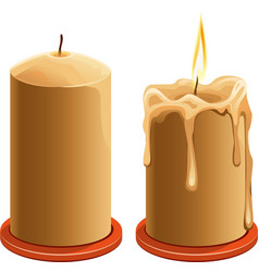 New and burning wax candle vector