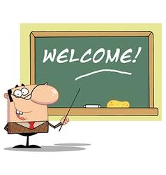 Whiteboard and teacher cartoon vector