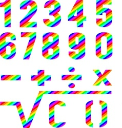 Numbers rainbow style vector